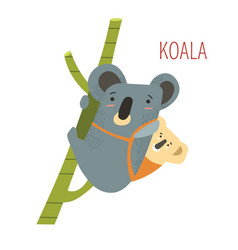 koala animal mother and kid sitting on back vector image