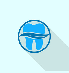 leaf on tooth logo icon flat style vector image