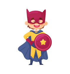 Little boy in superhero costume cloak shield and vector