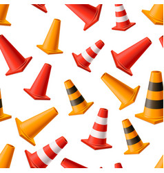 lot bright yellow and red road cones seamless vector image