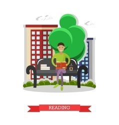 Man sitting on a bench in park reading book and vector image