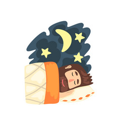 Man sleeping in his bed at night vector