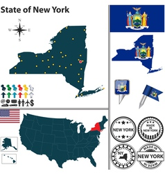 map new york vector image