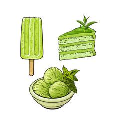 Matcha green tea ice cream cake popsicle vector