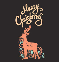 merry christmas handdrawn card vector image