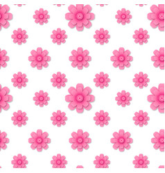 modern seamless pattern with pink 3d flowers vector image
