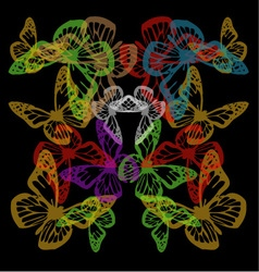 Multiple colorful butterflies background on black vector