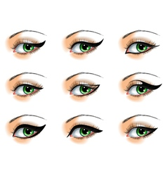 Nine different eyeliners set vector image