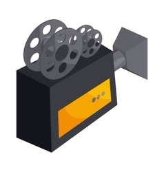 Old movie camera with reel icon cartoon style vector