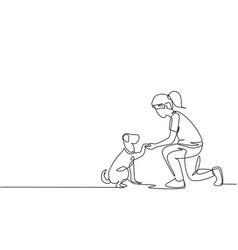 One line drawing young happy girl handshaking vector