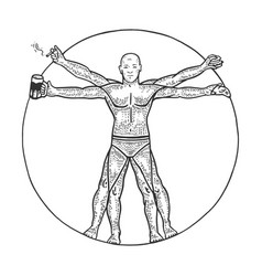 party vitruvian man sketch engraving vector image