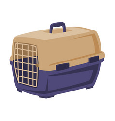 plastic portable cage for pet animals carrier vector image