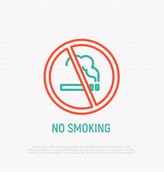 prohibition sign no smoking thin line icon vector image