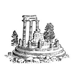 ruins ancient greece greek columns landscape vector image