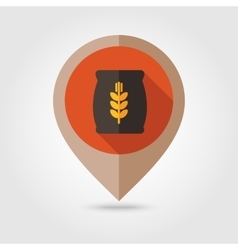 Sack of grain flat mapping pin icon vector image