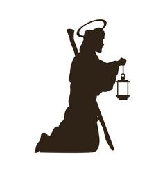 Saint joseph with stick silhouette holding lantern vector