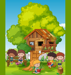 Scene with kids and treehouse vector