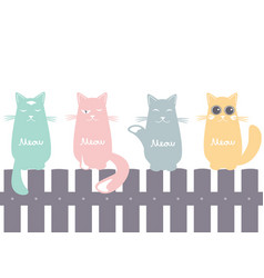 seamless pattern background with cats on fence vector image