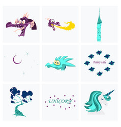 set of cartoon objects cartoon dragons castle vector image