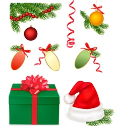 set of christmas objects vector image vector image