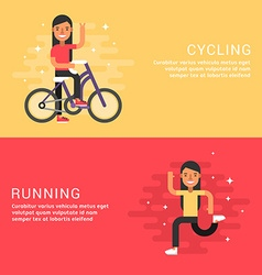 Set of Concept Flat Style Sport Female Cartoon vector image