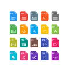 Set of file format flat icons vector