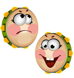 Set of funny laughing tambourine isolated on white vector