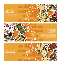 set of horizontal banners about wild west vector image