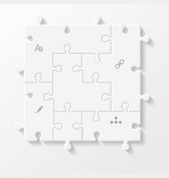 set of puzzle pieces jigsaw business infographics vector image