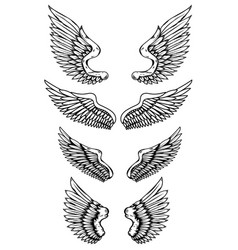 set wings in tattoo style isolated on white vector image