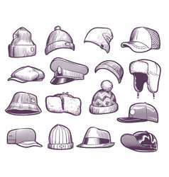 Sketch hats fashion mens caps design sports and vector