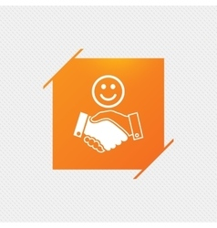 Smile handshake sign icon Successful business vector image