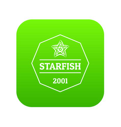 starfish icon green vector image
