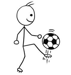 Stickman cartoon of soccer football player vector