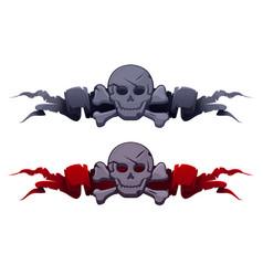 stone skull on award ribbons for game ui vector image