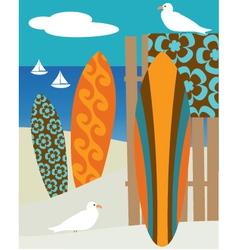 surf scene vector image