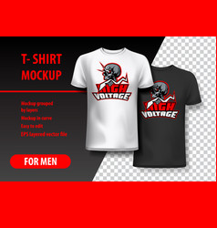 T-shirt mockup with high voltage and skull phrase vector