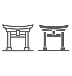 Torii gate line and glyph icon japan and vector