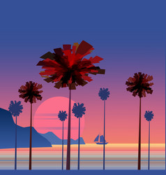 tropical sunrise at seashore with palms and vector image
