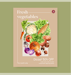 Vegetable watercolor paint collection fresh food vector