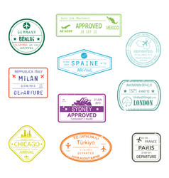 Visa passport signs or rubber stamps for documents vector