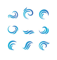 Wave emblems ocean water abstract isolated vector