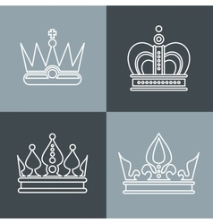 White line crown icons on gray background vector image