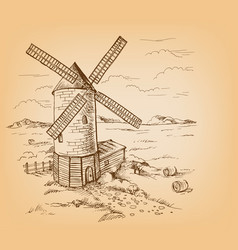 windmill with wheat fields vector image