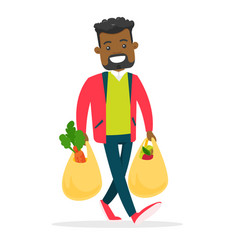 Young man holding shopping bags with groceries vector
