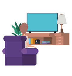 young man sitting in the livingroom avatar vector image