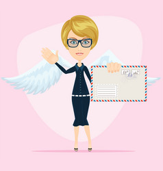 young woman as love angel with love letter vector image