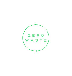 Zero waste text in recycling circle zero waste vector