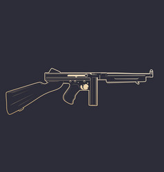 american submachine gun with gold outline vector image vector image