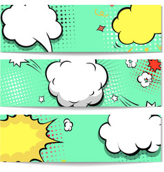 Bright dotted comic book style header set vector image